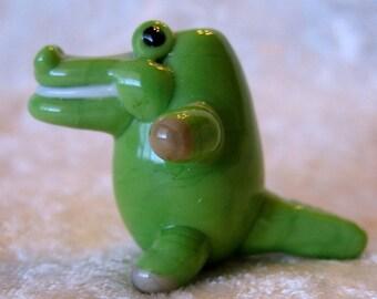 SALE  SALE  Baby Alligator Green Glass  Lampwork Bead Artist Designed  Toy Like Focal Bead