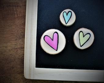 Fridge magnets hearts love multicolored