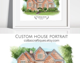 House Portrait, Custom house illustration, Custom house drawing, First house, Watercolor house portrait, House print, Home illustration