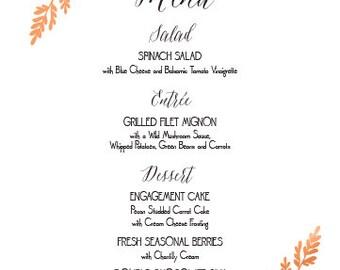 Fern Leaf Menu Cards Wedding Custom Handmade Bridal Sign Table Setting Botanical Classic Custom Personalized