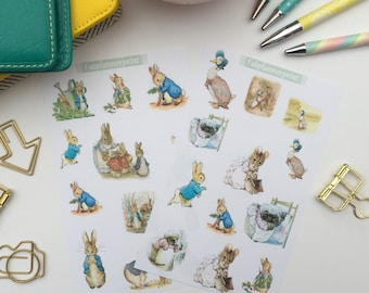 Beatrix Potter stickers, Peter rabbit stickers, Peter rabbit planner stickers, beatrix potter planner stickers, planner stickers