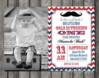 Mustache Birthday Invitation Digital Download