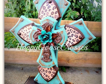 Wood Cross - Large Standing Cross - Antiqued Turquoise with Leopard/Cheetah print, and iron cross with turquoise iron rose