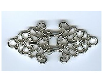 BC149 or BC142 - Metal Clasp - Ornate Shiny Silver/nickel or Gold Finish Trivet Cloak Clasp