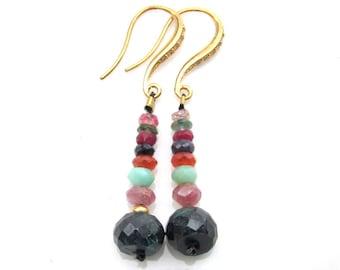 Emerald , Pink Sapphire, Chrysoprase and Carnelian Earrings - Natural Genstones Handmade Jewelry
