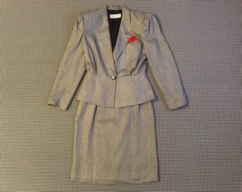 1990's, blazer and skirt set, in black and white zig zag weave, with tiny red polkadots and pocket square, Women's size 6