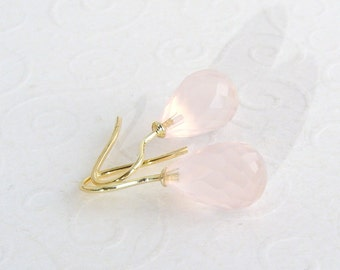14k yellow gold rose quartz earrings, pink gemstone earrings, simple earrings, 585 yellow, earrings