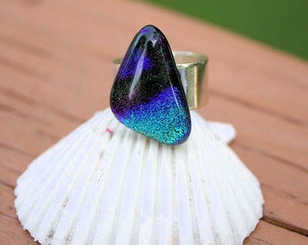 Blue Purple Dichroic Fused Glass Ring, Fused Glass Jewelry, Handmade Jewelry, Dichroic Ring, Gift for Her, Mother's Day