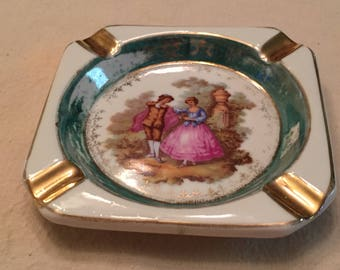 Vintage Porcelain French Limoges Ashtray Courting Couple