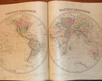 Antique Map of Western & Eastern Hemispheres from GM Hopkins' 1877 Atlas of baltimore County Maryland