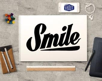 SMILE, Handwritten, Typography, Nursery Art, Home Decor, Handwritten Sign, Quote Print, Vintage Style, Typographic Art, Bedroom Decor