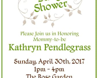 "Subtle Floral 5""x7"" Custom Baby Shower Invitation, Thank You Cards and Diaper Raffle Digital Printable Bundle"