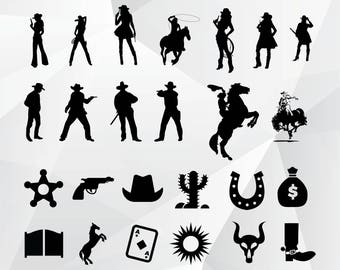 Cowboy svg/Cowgirl svg,png,jpg,eps for Print,Design,Silhouette,Cricut and any more