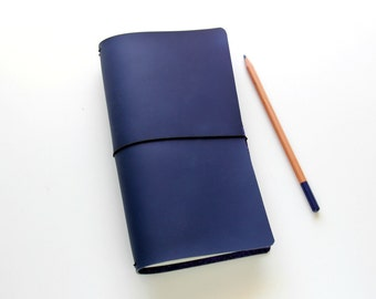 Travelers Notebook Fauxdori Cover Midori Cover Navy Midori Travelers Notebook, Midori Inserts, Like Midori Pan Am Quad Binding Vegan Leather