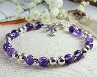 Rich Purple Amethyst Bracelet, 925 Sterling Silver, natural gemstone, boho luxe, heart charm, valentine day gift, February birthstone, 4141