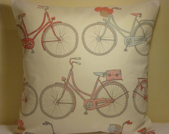 """Designer Handmade Cotton fabric pillow cushion slip cover bolster sham sleeve pillow case size 16"""" bike bicycle quirky pink blue white"""