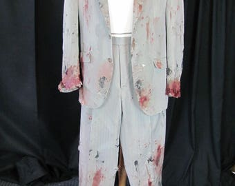 bloody (42) zombie suit, zombie businessman, zombie costume, coat, bloody, undead, living dead, halloween costume, zombie suit. Z9