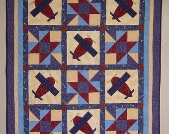PATTERN - PDF - Airplane baby quilt or throw quilt - EASY