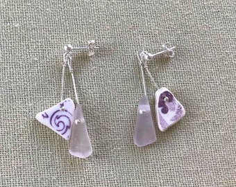 Sterling Silver Pair Of Dangly Drop Beach Scottish Sea Pottery And Sea Glass Earrings - Pale Lavender Seaglass, White & Purple Sea Pottery