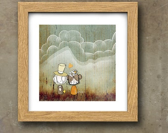 Cloudy with a chance of Love Art Print, Cute Art, Digital Print, Giclee Print