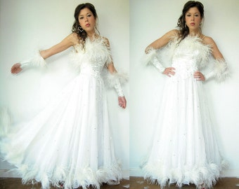 STUNNING 50's 60's Vintage White Ostrich Feather Wedding Dress / Long Party Ball Gown / Full Sweep / Silver Metallic bodice / Wrist Gloves
