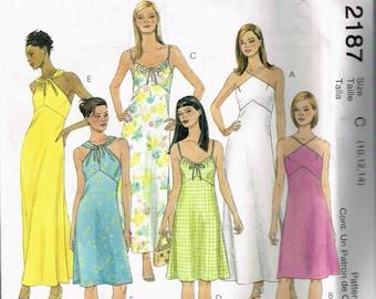 Size 10-14 Misses' Dress Sewing Pattern - Twist Neck Halter Dress - Empire Waist Knee Length Dress - Summer Sun Dress - McCalls 2187