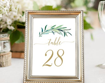 Greenery Table Number Template, Printable Wedding Table Numbers 1–40, Wedding Table Numbers, Flat, 5x7 and 4x6 sizes, Eucalyptus Gold