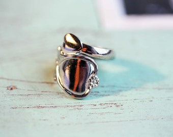 Silver Spoon Ring, Vintage Spoon Ring, Spoon Ring, Wrap Ring, Silver Wrap Ring, Twist Ring, Spiral Ring, Silver Thumb Ring, Adjustable Ring