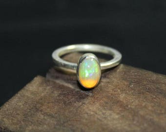 Welo opal sterling silver ring 6.25 US size , Rainbow fire Opal Ring, White Opal Ring, ethiopian opal Smooth Oval 8x5 mm silver ring:- 20