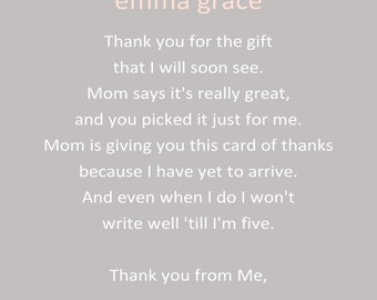 Pink Elephant Baby Shower Thank You Card - You Print - 4x6 or 5x7