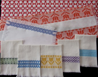 """KIT Swedish Weave Designs """"Inspirations 5"""" by Katherine Kennedy  Huck Embroidery Kit includes 5 Patterns, Huck Towel Fabric, Thread, Needle"""