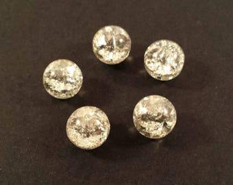 Set of 10 silver Crackle effect (Ref.107)
