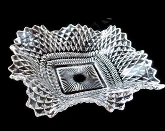 Diamond Pattern Candy Dish, Crystal Pressed Glass Candy Dish, Square Ruffle Candy Dish, Clear Glass Dish, Trinket Dish, Dresser Dish