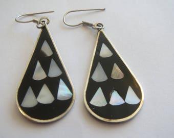 Vintage Alpaca Silver MOP &  Enamel  in Black Enamel Earrings