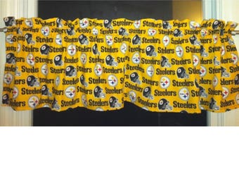 "NFL PITTSBURGH STEELERS Football Valance Curtain 54"" W x 13"" L"