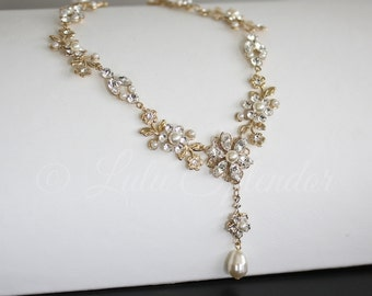Gold Wedding Necklace Gold Crystal and Pearl  Bridal Necklace Leaf Necklace Crystal Flower Necklace Wedding Jewelry AMY NECKLACE