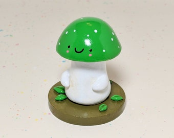 Green Mushroom Woodland Figurine - Collectible Clay Figure