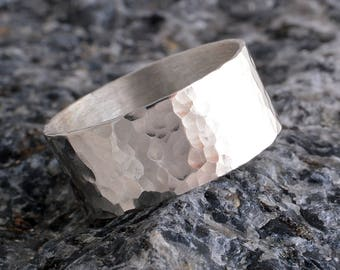 Silver hammered ring sterling silver hammered 8mm ring handmade choose your size custom made 925