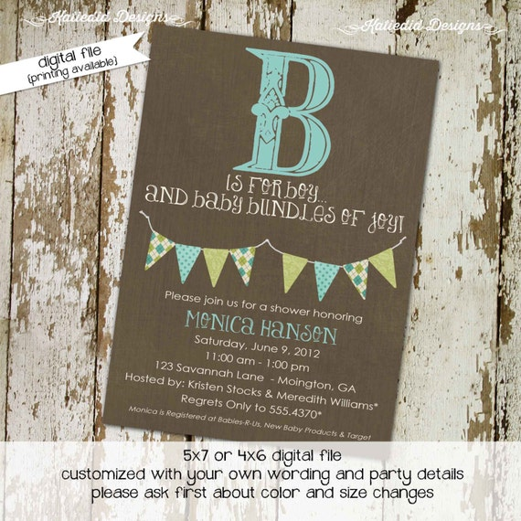 rustic baby boy shower invitation b is for baby invite Kraft paper rustic chic bunting banner diaper wipe brunch twins 1276 katiedid designs