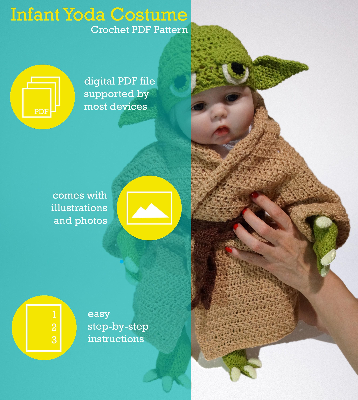 Infant Yoda Crochet Costume Pattern Pdf Star Wars Baby Costume
