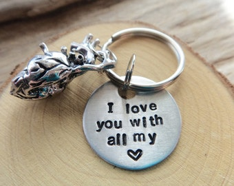 I Love you With All My Heart Keychain- Science Biology Geek Anatomical Heart- Health Doctor Stamped Aluminum Keyring- Valentine Gift Couples
