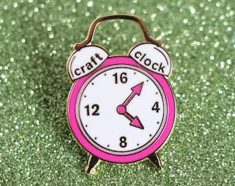 Craft clock, hard enamel pin, enamel pin set, cloisonne, craft enamel pin, lapel pin, pin badge, kawaii enamel pin, retro enamel pin,