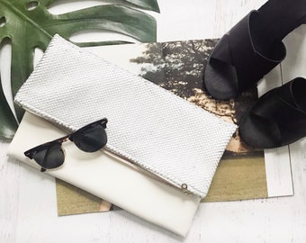 Textured Whitr Snakeskin Print Leather Foldover Clutch - Gift for her, Birthday, Anniversary, Bridesmaid