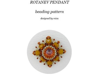 Rotanev Pendant - Beading Pattern/Tutorial - PDF file for personal use only