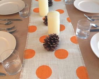 """14"""" Wide Thanksgiving Orange Burlap Table Runner, Off White Burlap Table Runner, Thanksgiving Table Runner, Thanksgiving Decor"""