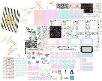 Roses in Bloom Big Kit, Planner Stickers