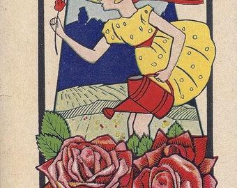 Vintage No. 6 Junior Lithograph Original Broom Label, 1910s
