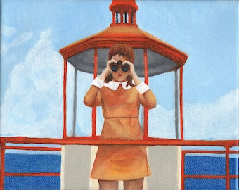 "Wes Anderson's Moonrise Kingdom Fan Art Print of Painting ""Binoculars"""