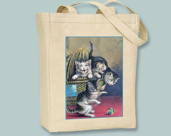 Playful Kittens Vintage Illustration Natural or Black Canvas Tote - Selection of sizes available