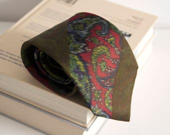 Vintage silk tie, altea mens necktie, silk neck tie, floral cravat cravatte / olive green red